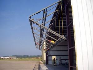 Newly installed Schweiss bifold door opening after installation.