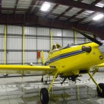 Reloading an Air Tractor with product only takes a few minutes. His hangar has two Schweiss Bifold doors at each end to go in and out of.