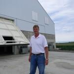 Grain storage hydraulic doors work as bunker walls for corn storage with zero leakage.