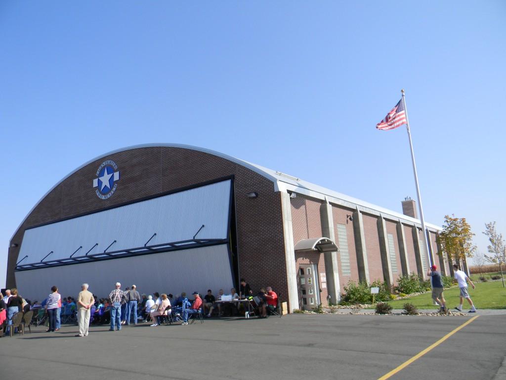 Fagen World War II bifold hangar door is 70 ft. x 18 ft.