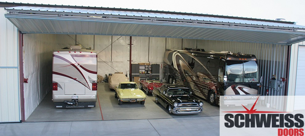 Powerful Bifold doors for vehicle and RV storage buildings